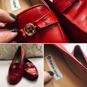 Etienne Aigner Flats Red Loafers Sz 9.5M Leather